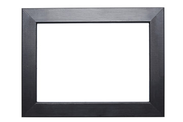 black wooden frame isolated on white background with clipping path included and copy space for your text