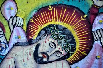 Wall painting of suffering Jesus in monastery, lake Tana, Ethiopia.