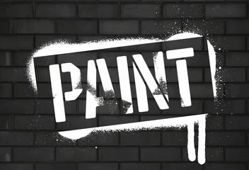 Stencil Paint inscription. White graffiti print on black brick wall. Vector design street art