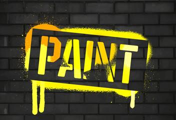 Stencil Paint inscription. Color graffiti print black brick wall. Vector design street art
