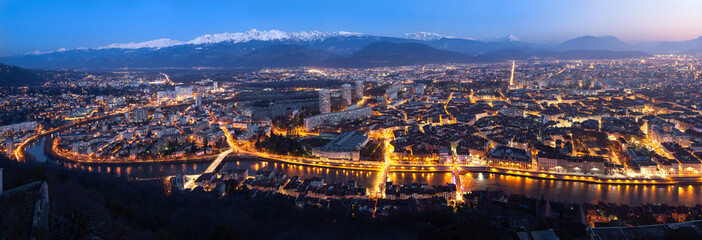 Aerial panorama of Grenoble at dusk, France