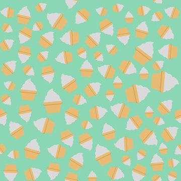 Mint cream cup cake seamless green pattern