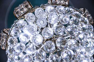 Crystal precious lamp with beautiful glass and stones. Dear interest at home. Stock photo