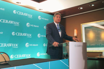 Senator Joe Manchin Democrat of West Virginia discusses climate policy coal and renewable energy at a press briefing at the IHS Markit CERAWeek conference in Houston