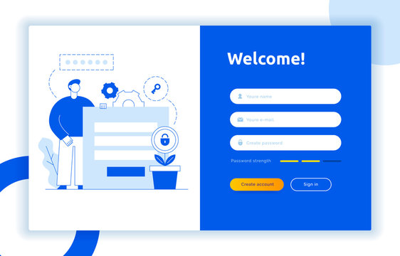 Login UI UX design concept and illustration with big modern people, privacy icons, inputs, forms. Vector website user interface sign in, sign up form template. Online web register.