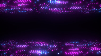 3d abstract art background render, circles and dots on the black, retrowave and synthwave illustration.