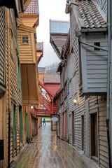 Bergen Stadt Norwegen Bryggen  Panorama