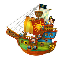 Cartoon pirate ship with happy pirates with still hot cannons on white background - illustration for the children