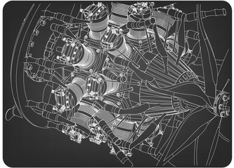 Radial engine on a gray