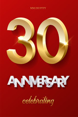 30 golden numbers and Anniversary Celebrating text on red background. Vector vertical thirtieth anniversary celebration event invitation template.