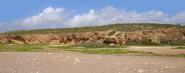 Akamas Peninsula - Cyprus, rock wall panorama and road (buggy piste)