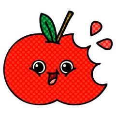 comic book style cartoon red apple