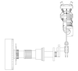 Two pistons and crankshaft on a white
