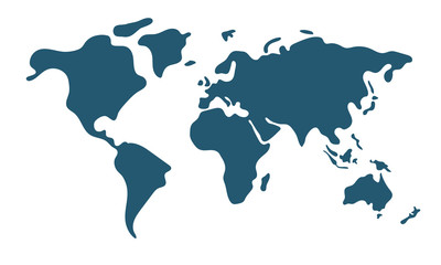 Simple world map in flat style isolated on white background. Vector illustration. Fotomurales