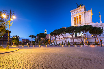 Architecture of the National Monument in Rome at night, Italy