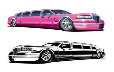 Vector Cartoon limousines, colour and black and white versions