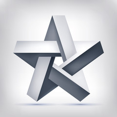 Pentagonal illusion star. Five-pointed unreal shape, nonexistent geometry object, abstract vector design