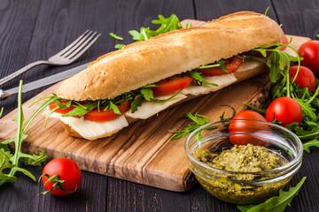 Photo sur Aluminium Snack Healthy Grilled Basil Mozzarella Caprese Panini Sandwich