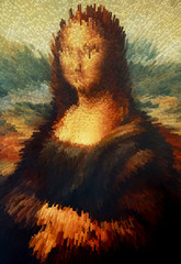 My painting reproduction of Mona Lisa and graphic effect.