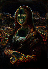 My painting reproduction of Mona Lisa and fractal effect.