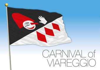 Carnival of Viareggio flag, Tuscany, Italy, vector illustration