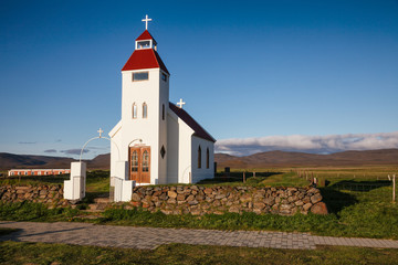 White church at Modrudalur farm Eastern Iceland Scandinavia