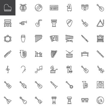 Musical instruments line icons set. linear style symbols collection, outline signs pack. vector graphics. Set includes icons as music note, electric guitar, grand piano, saxophone, flute, drums kit