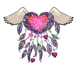 Boho vector heart with wings. Indian Dream catcher.