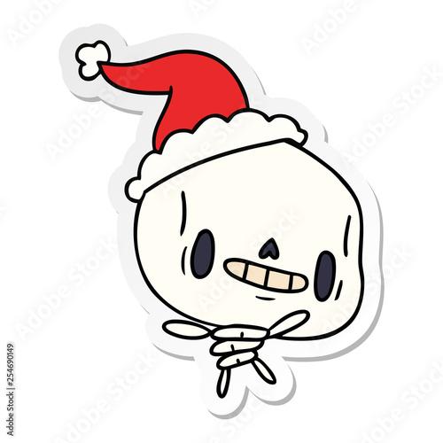 Christmas Skeleton.Christmas Sticker Cartoon Of Kawaii Skeleton Stock Image