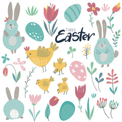 Vector collection of rabbits, chicken and flowers.