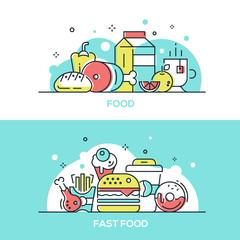Food concept - modern line design style illustrations