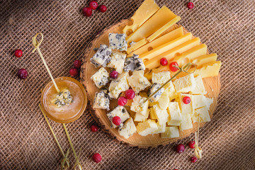 Cheese slices close-up. Different sorts of cheese on wooden board. Pieces of cheese natural background. Sliced natural cheeses, top view.