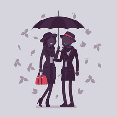 Couple with umbrella in autumn. Man and woman in love standing protected together under rain of fall leaves, feeling safe, secure, romantic relationship. Vector illustration, faceless characters