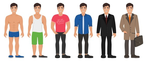 Smiling handsome young man in different types clothes. Casual, formal and business style. Dark-haired guy with grey eyes. Cartoon male characters standing on a white background. Flat vector image.