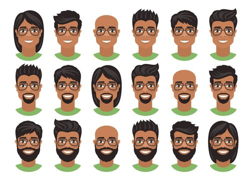 Set of mens avatars with various hairstyles: long or short hair, bald, with beard or goatee. Brown eyes, dark skin, black hair and glasses. Cartoon portraits isolated on white background. Flat style.