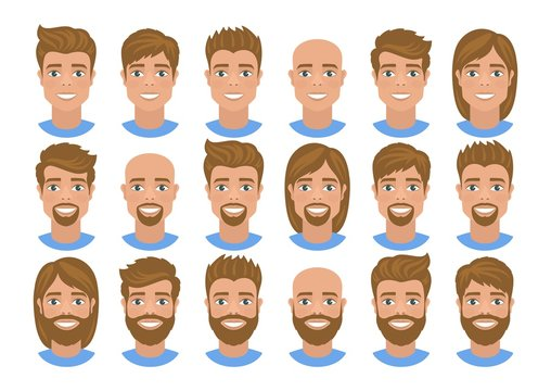 Set of mens avatars with various hairstyles: long or short hair, bald, with beard or without. Blonde hair, blue eyes. Cartoon portraits isolated on white background. Flat style. Vector illustration.