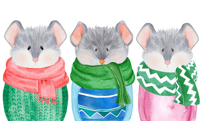 Watercolor collection of Mice in sweater. 2020 Chinese New Year of the Rat. Christmas greeting card