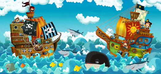 cartoon scene with pirates on the sea battle - illustration for the children