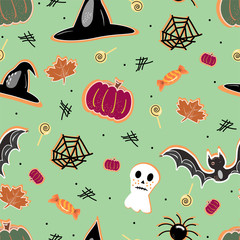 halloween seamless pattern background with pumpkin, bat, lollipop, ghost. Hand drawing elements