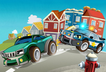 Wall Murals Cars cartoon off road car chase with police - illustration for children