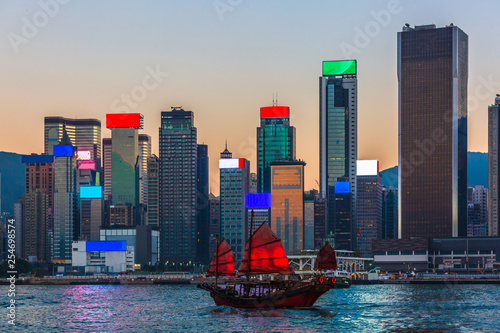 Hong Kong harbour, Traditional Chinese wooden sailing ship