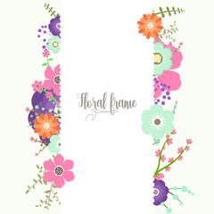 Elegant design illustration of floral frame template with text inside