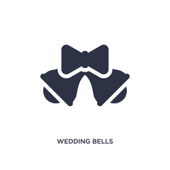 wedding bells icon on white background. Simple element illustration from birthday party and wedding concept.