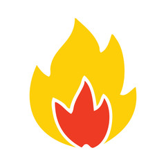 flat color retro cartoon fire