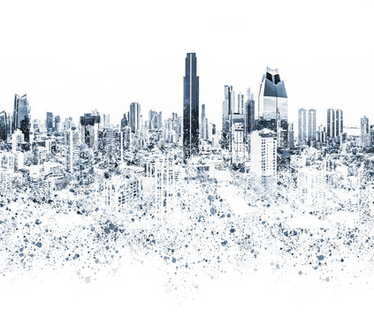 city skyline graphic illustration , abstract  cityscape background -