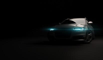 Stylish car on a black background with led lights on. Futuristic modern vehicle head light xenon on...