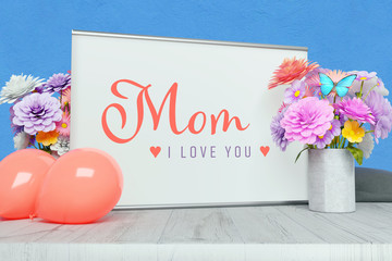 Greetings: Mom - I love you! Decorative writing on a picture frame surrounded by flowers and balloons. Pink and purple