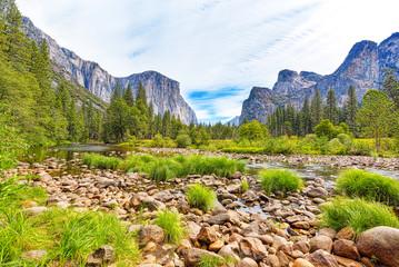 Yosemite Valley. Magnificent national American natural park - Yosemite.