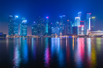 Singapore city skyling in business district at dusk.