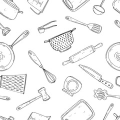 Seamless vector pattern of elements with hand drawn spice on a white background.